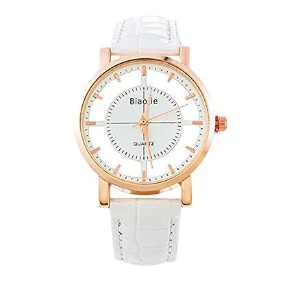 Souarts-Damen-Wei-Klar-Zifferblatt-Armbanduhr-Quartzuhr-Analog-mit-Batterie