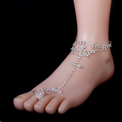 Silber Sklave Toe Ring Strass Slave Kette Fußkettchen Knöchel Armband Strand Brauthochzeits