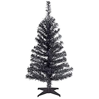 National-Baum-2-Fu-schwarz-Lametta-Baum-mit-Stnder-aus-Kunststoff-TT33-704-20-1