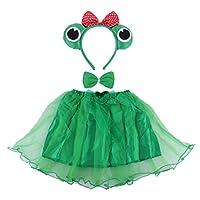 BESTOYARD-3-Stcke-Kinder-Frosch-Kostm-Tier-Kostm-Ohren-Stirnband-Bowtie-Tutu-Set-Winkel-Mdchen-Dress-Up-Cosplay-Outfit-Grn