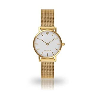YVES-CAMANI-LA-Damen-Armbanduhr-Analog-Quarz-goldenes-Edelstahl-Milanaise-Armband-weies-Zifferblatt-YC1098-A-701