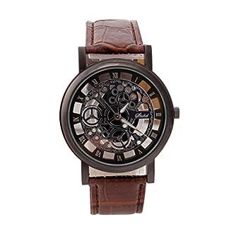 Hansee-Armbanduhr-2018-Mnner-Luxus-Edelstahl-Quarz-Military-Sport-Lederband-Zifferblatt-Armbanduhr-Durchbohrte-Uhr-Minimalistische-Runde-Dial-Elegant-Sports-Armband-Quartz-Uhr
