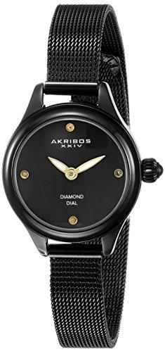 Akribos-XXIV-Damen-Armbanduhr-ak873bk-schwarz-rund-mit-Mesh-Armband