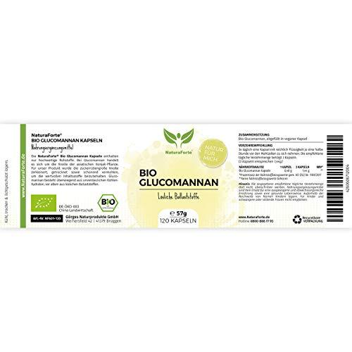 NaturaForte Bio Glucomannan Kapseln 120 Stück | Abnehmen | Gewichtsverlust | Diät | Fatburner Diät-Kapseln | Bequem und Schnell zum Abnehmen | Natürlich & Vegan | Hergestellt in Deutschland