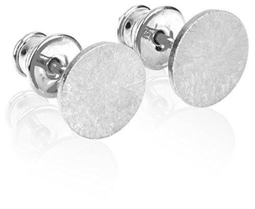 modabilé Damen Ohrstecker Rund CIRCLE 8mm Inkl. Etui | Silber, Rosé, Gold, Schwarz | Ohrringe aus 925 Sterling Silber | Kreis, Klein & Flach | Made In Europe