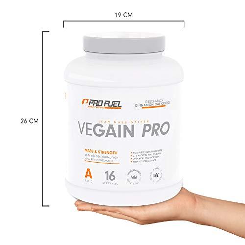 VEGAIN PRO | Weight & Mass Gainer | 100% Vegan | Für Masseaufbau oder bei Untergewicht | Sehr lecker | Ohne Maltodextrin und zugesetzten Zucker | Made in Germany | 2,2 kg – (CINNAMON OAT COOKIE)