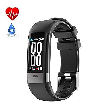 SUNSUNNY-Fitness-Tracker-intelligentes-Armband-mit-Zwei-Herzfrequenz-Blutdruckmessgerten-EKG-Wiedergabe-mit-Schlaferkennung-Ip67-wasserdicht-fr-Android-oder-IOS