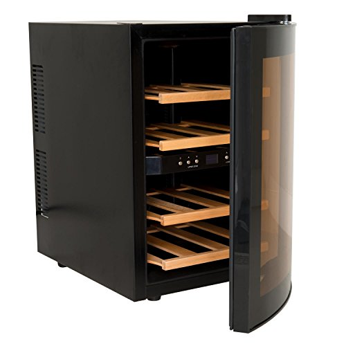 HKoenig-AGE12WV-Weinkhlschrank12-Flaschen2-Temperaturzonen-Temperatur-von-8C-bis-18CLED-TemperaturanzeigeHolzlagerbden
