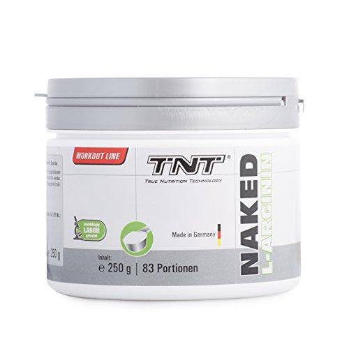 L Arginin Pulver für Muskelaufbau von TNT | Aminosäuren für Fitness Pre-Workout |Deutsche Premium Qualität | Hochdosiert zur Leistungs-Steigerung im Sport & Bodybuilding | Naked L-Arginin | 250g Dose