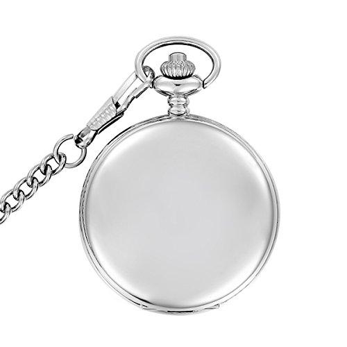 Silber-polnischen-Taschenuhr-Vintage-glatten-Quarz-Taschenuhr-Classic-Taschenuhr-mit-kurze-Kette-fr-Mnner-Frauen-fr-Geburtstag-Jahrestag-Tag-Weihnachten-Vatertag