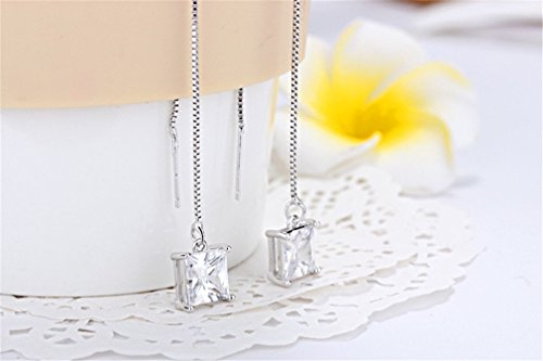 Ohrringe Damen Mädchen 925er Sterling Silber Lange Perlen mit Zirkonia Hypoallergen ohrhänger Pour Hochzeit