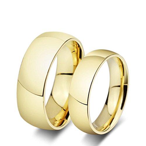 Blisfille Ehering Titan Gold Ringe Herren Herren Damen Gewölbt Schlicht Hoch Poliert Glänzend Einfach Gr. 45(14.3) & 49(15.6) Kostenlos Gravur