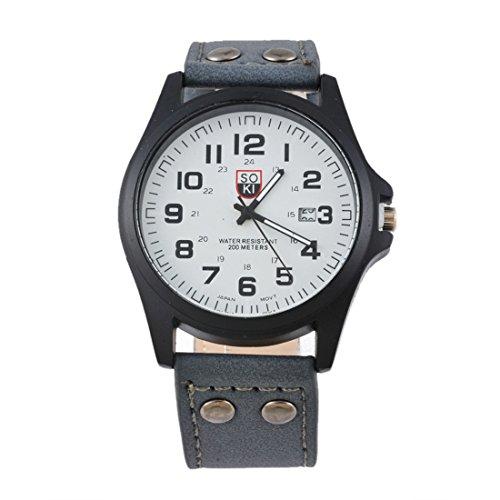 MJARTORIA-Herren-Kunstleder-Datum-Armbanduhr-Quarz-Uhr