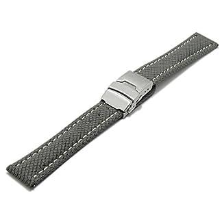 Meyhofer-EASY-CLICK-Uhrenband-Hudson-18mm-mittelgrau-Textil-Look-helle-Naht-Faltschliee-My2hesk3002