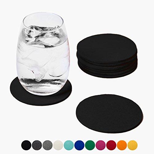 Smacc Filzuntersetzer, rund 8er Set (Farbe wählbar) – Glasuntersetzer aus 100% Wollfilz, Untersetzer für Bar und Tisch Einrichtungsideen als Tischdeko (Schwarz)