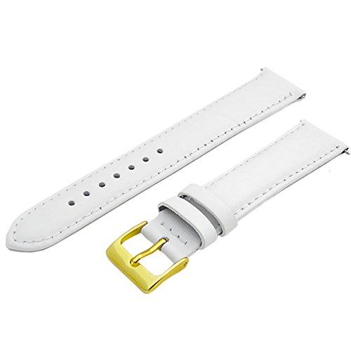 Wei-Leder-Uhrenarmband-Band-Wahl-von-Gren-16-mm-18-mm-20-mm-22-mm-Vergoldet-Gold-Farbe-Schnalle