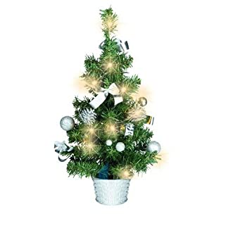 Knstlicher-Tannenbaum-Weihnachtsbaum-45cm-mit-LED-Lichterkette-Beleuchtung-und-Baumschmuck-Weihnachtskugeln-20-Lichter-Baum-geschmckt-mit-Zapfen-Kugeln-Schleifen-Baumschmuck-silber