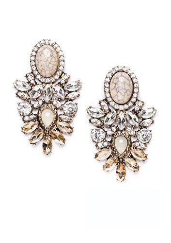 Happiness Boutique Damen Statement Ohrringe Strasssteine Silber Gold   Große XXL Ohrringe Marmor Modeschmuck nickelfrei