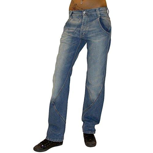 Met Design Damen Jeans Pantaloni Jeanshose Baggy Hip Hop Hose blau used