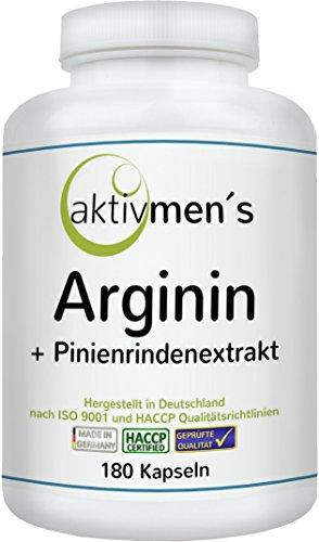 aktivmen´s Arginin plus Pinienrindenextrakt (OPC) – 180 Kapseln, 1 Dose (1 x 135 g) Premium-Qualität, hochdosiert, hergestellt in Deutschland | L-Arginin & Extrakt aus Pinienrinde – ideal kombiniert