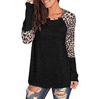 JYJM-Frauen-Leopard-Druck-Bluse-Patchwork-Langarm-Bluse-Tunika-T-Shirt-Langarm-Tops-Patchwork-Bluse-Damen-1950er-Vintage-Cocktailkleid-Rockabilly-Retro-Schwingen-Kleid-Faltenrock