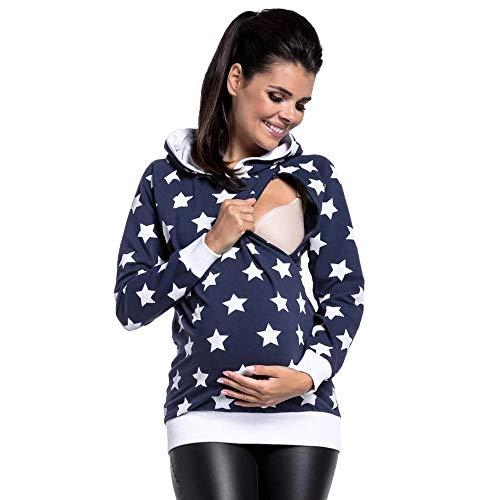 Bellelove-Schwangere-Frauen-Sterne-Print-Stillen-Kleidung-Damen-Stillen-Winter-mit-Kapuze-Sweatshirts-Hause-Pyjamas-Multifunktionale-Stillen