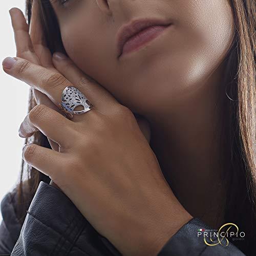 Principio® – Damenring Baum des Lebens aus 925er Silber – Made in Italy – Originaler Damenschmuck (verstellbar) mit schönem Geschenkkarton