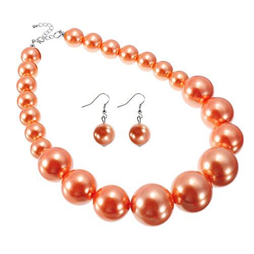 Jerollin Damen Halskette Statement Perlenkette aus Harzen Schmuck Set Perlenohrringen Statement Ohrstecker