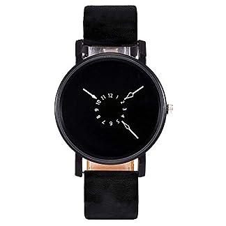 Yuwegr-Damen-Armbanduhr-Casual-Quarz-Lederband-Analoge-Uhren-Einfache-Sportlich-Frauen-UhrSchwarz