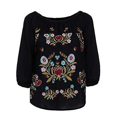 GJKK-Bluse-Damen-Herbst-Shirt-Reizvoller-Schulterfrei-Hemd-Chiffon-Langarmshirt-Blumenstickerei-Damen-Tops-Oberteil-Langarm-Sweatshirt-Lose-Hemd-Tunika