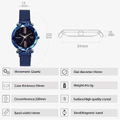 RORIOS-Fashion-DamenWomen-Analog-Quarzuhr-Armbanduhren-Mesh-Armband-Magnetband-Sternenklarer-Schn-Himmel-Dial-Armbanduhr