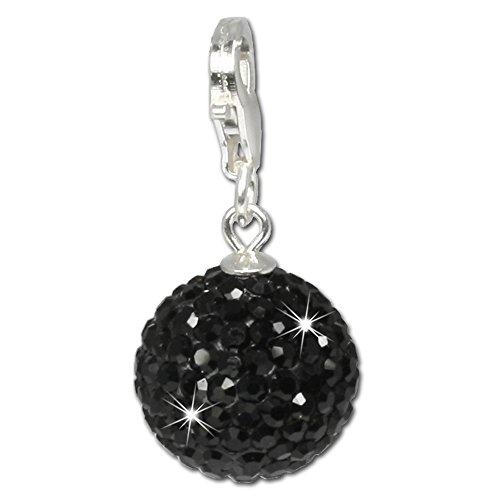 SilberDream Glitzer Charm Swarovski Kristalle Kugel schwarz SHINY Anhänger 925 Silber für Bettelarmbänder Kette Ohrring GSC206