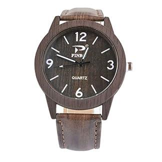 MJARTORIA-Damen-Retro-Holz-Streifen-Uhr-Armbanduhr-Quartz-Analog-Kaffeebraun
