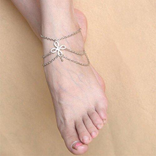Gluckliy Frauen Fußschmuck Boho Strand Charms Barfuss Sandalen Fußkettchen Fußkette