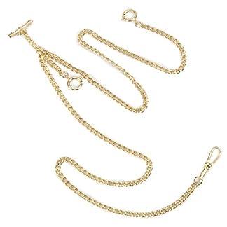 ManChDa-Einzigartige-Gold-Doppel-Albert-T-Bar-Taschenuhr-Kette-16-Zoll-mit-3-Haken-fr-Mnner