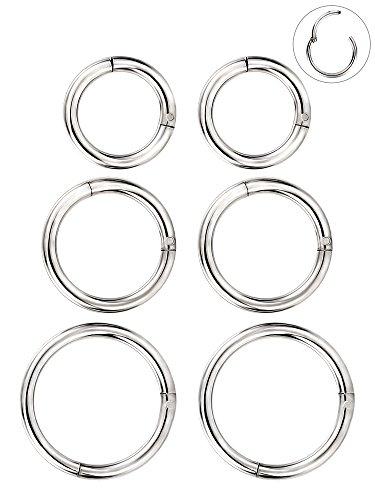 6 Stück 16 Gauge Edelstahl Nasenring Hoop Seamless Clicker Ring Ohr Lippen Piercing Schmuck, 3 Größen, Silber