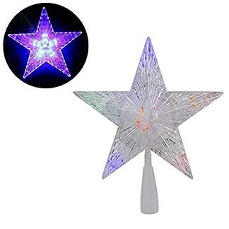 Weihnachtsbaumspitze-Stern-LED-leuchten-Weihnachtsbaum-Topper-Star-Christbaumspitze-Kunststoff-22x22cm-mit-31-LED-mehrfarbig-Fr-Weihnachtsdekor
