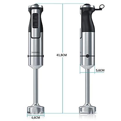Arendo-Stabmixer-1000-Watt-Edelstahl-vierflgeliges-Messer-Handmixer-Prierstab-stufenlose-Geschwindigkeitsregelung-Turbotaste-abnehmbarer-Mixfu-GS-zertifiziert
