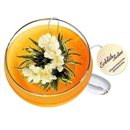 Monsterzeug-Tee-Geschenkset-Erblh-Teelini-Weier-Tee-8-Erblhtee-Kugeln-in-4-Sorten-Glas-Tasse-mit-Deckel-Teeblume-zum-Trinken-Tee-Geschenkbox