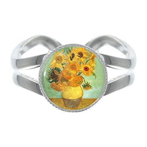 Van Gogh Sonnenblume Design versilbert verstellbarer Ring