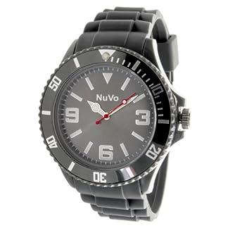Nuvo-NU13H06-Unisex-Armbanduhr-Quartz-Analog-Graues-Zifferblatt-Graues-Armband-aus-Silikon-Modisch-Elegant-Stylish