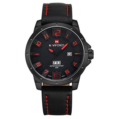 NEU-Militr-Herren-Uhr-Mnner-Analog-3D-Gesicht-Leder-Quarz-Armbanduhr-K382-Herren-armbanduhr-leder-Herrenuhr-Schwarz-Herrenuhr-lederarmband-Armbanduhr-herren-schwarz