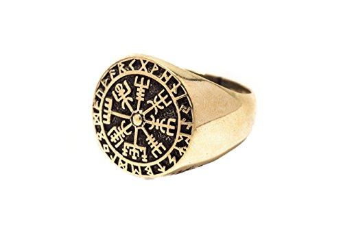 WINDALF Vegvisir Ring RAGSØN h: 1.8 cm Wikinger Runen Kompass Bronze