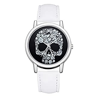 Uhren-Damen-Luxuris-Mode-Lederband-Armbanduhr-analoge-Quarz-Runde-Armbanduhr-Uhren-Fashion-Diamond-Sportuhr-Lederarmband-Watch-Schdel-Muster-Klassisch-UhrYpingLonk