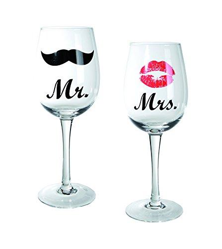 Out-of-the-blue-Weinglas-mit-Kussmund-Schnurrbartdekor-Mr-und-Mrs-circa-430-ml-Hhe-225-cm-2-er-Set-in-PVC-Box