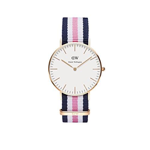 Daniel-Wellington-Uhr-Classic-Southampton-Nato-blau-wei-pink-Damen-Textilarmband-NEU