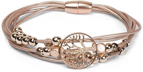 styleBREAKER Armband mit feinen Bändern, Lebensbaum Anhänger und Schmuckperlen, Magnetverschluss, Armschmuck, Schmuck, Damen 05040135