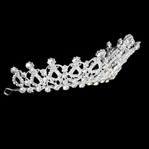 ROSENICE Diadem Hochzeit Krone Tiara Braut Strass Haarreifen(Sliver)