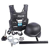 YAKOK-8er-Polizei-Kinder-Set-Rollenspiel-Polizei-Spielzeug-Polizei-Set-fr-Kinder-Kleinkind-Jungen-mit-Weste-Abzeichen-Handschellen-Schlagstock-Uhr-Brille-und-Walkie-Talkie