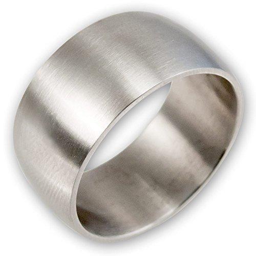 Fly Style® Breiter Band-Ring Edelstahl, breite Ringe für Damen Herren silber matt, Biker Rocker Motorrad Schmuck